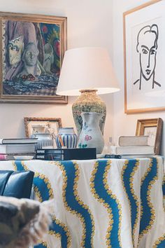 love fabric on this table - Bryan Ferry's London Abode