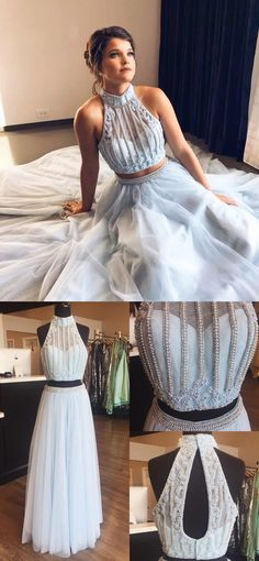 2018 two piece long prom dress, sky blue long prom dress, elegant two piece high neck sky blue long prom dress with open back
