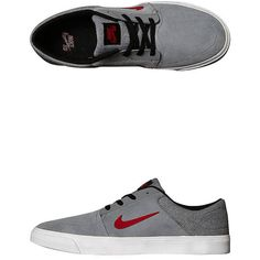 Nike Womens Sb Portmore Shoe ($66) ❤ liked on Polyvore featuring shoes, cool grey gym red, nike footwear, nike shoes, nike, grey shoes and wrap shoes