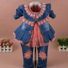 Cheap clothing sets, Buy Quality clothings girls set directly from China clothing set girls Suppliers: OhMcby Autumn Girls Clothing Sets Denim Jacket+ Jeans and Floral Lace Shirt 3 pcs Suit Girl Denim Sally Patchwork Clothes Sets Fashion Niños, Kids Fashion, Traje Casual, Casual Suit, Denim Coat, Denim Pants, Jacket Jeans, Spring Girl, Cowboy Outfits