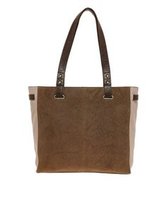 Urban Code Embossed Faux Snake Print Leather Tote Bag
