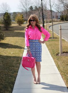 Neon pink bag, ikat pencil skirt, so fun and colorful for a business casual environment!  Remember, work doesn't have to mean boring! Click through now for all of the outfit details!