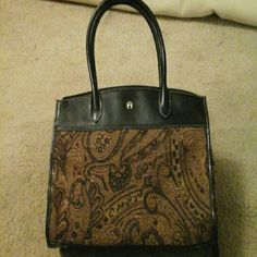 """**HP** Vintage Aigner handbag **Host pick 01/03/15! **  Tapestry fabric in brown and bronze, dark brown leather appears black, body size is 11"""" height (before handles), 14"""" length,  5"""" width,  handles make total height 17"""". Inside, 1 zippered pocket and middle is 3 areas, middle zippered. Front and back have magnetized snaps. Super nice! Etienne Aigner Bags"""