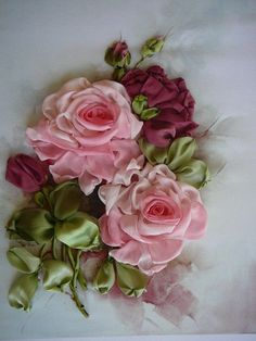 I ❤ ribbonwork . . . Embroidered Pink and Wine Roses with silk ribbons.