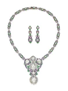 A SET OF BELLE ÉPOQUE DIAMOND AND ENAMEL JEWELRY, BY PAULDING FARNHAM, TIFFANY & CO. -  Designed as an openwork enamel foliate plaque, set with rose-cut diamonds and enhanced with collet-set circular-cut diamonds, to the foliate link neckchain, set with collet-set old European-cut diamonds; and a pair of ear pendants en suite, mounted in platinum and gold, circa 1900.