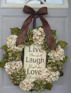 Spring Wreaths for Front Door | Spring Hydrangeas Front Door Wreaths Traditional Wreaths by bndd, $110 ...
