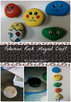 DIY Pokemon Craft: Pokemon Rock Magnets! |