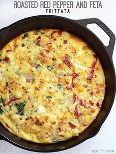 Cheap eats, a gluten free capsicum, feta and spinach frittata that's perfect for using up leftovers