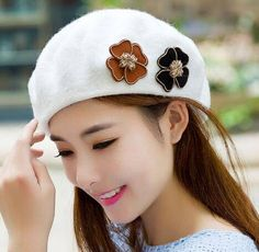 Flower beret hat for women winter wool french beret hats