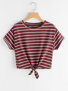 SheIn offers Striped Knot Front Tee & more to fit your fashionable needs. SheIn offers Striped Knot Front Tee & more to fit your fashionable needs. Girls Fashion Clothes, Teen Fashion Outfits, Girl Fashion, Girl Outfits, Fashion Women, Fashion Dresses, Teenage Outfits, Outfits For Teens, Summer Outfits