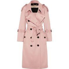 Burberry The Lakestone cashmere trench coat (7.395 BRL) ❤ liked on Polyvore featuring outerwear, coats, jackets, pink trench coat, checked coat, pastel pink coat, double breasted coat and wool cashmere coat
