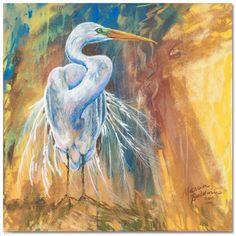 An original pastel painting on wallis paper of the Great White Heron