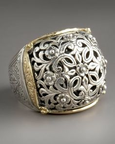 Silver & Gold Dome Ring by Konstantino at Neiman Marcus. Silver Bracelets, Silver Earrings, Silver Jewelry, Fine Jewelry, Silver Ring, Gold Ring, Jewellery, Jewelry Rings, Celtic Wedding Rings