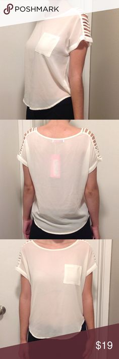 Sheer Short Sleeve Top Small pocket in front with cut out sleeves and sheer light colored top. Brand new and never worn! Tops Blouses