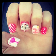 3D cupcake 21st birthday nails