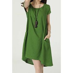 $15.13 Casual Scoop Neck Short Sleeves Solid Color Dress For Women