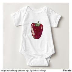 single strawberry cartoon style fruit illustration #strawberry #baby #girl #babygirl #babyfashion #fashion #apparel #funny #illustration #benaie