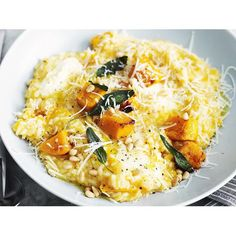 Creamy pumpkin risotto recipe - By Australian Women's Weekly, Savoury, comforting and infused with the delicate flavour of sage, a big bowl of this creamy pumpkin risotto is exactly what you need on a cold winter evening.