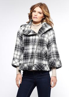 GUESS Wool Asymmetric Zip High Collared Jacket
