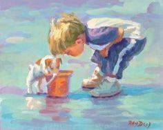 Beach boy little boy on the beach with his pet dog jack russell blonde boy art wall decor beach decor boys room Lucelle Raad Art Jack Russell Terriers, Beach Canvas, Beach Art, Ocean Beach, Blue Beach, Blonde Jungs, Art Plage, Art Mur, Art Décor