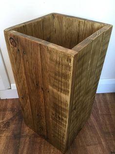 Large Wooden Bin  Waste Paper Bin  Bathroom Bin  Reclaimed