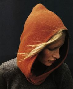 #Woman in a #hooded #jumper.