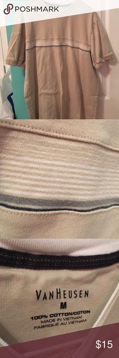 Men's Van Heusen shirt Light tan men's Van Heusen shirt with stripes on the front section. Gently used, size medium Van Heusen Shirts Tees - Short Sleeve