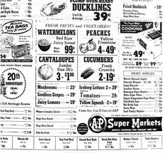 A&P grocery store ad, 1961.