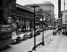 Downtown Hammond, Indiana in the 1940s.  This is the town that Jean Shepherd grew up in and is the basis for the fictional Hohman, Indiana from A Christmas Story.