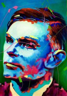 Alan Turing by Lindi Kirwin Alan Turing, Mirror Painting, Painting People, Artist At Work, Lovers Art, Brave, Fine Art Prints, Indie, Mixed Media