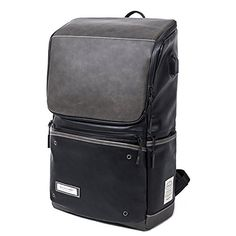 MUZOR Mens Waterproof PU Leather Business Travel Laptop Backpack with USB Charging Port Black >>> Read more  at the image link. Note: It's an affiliate link to Amazon #menleatherbackpack