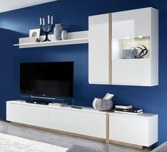 Wohnwand Candy Eiche und Hochglanz weiß 4 tlg. Blue Walls, Interior, Blue Living Room, Bookshelf Design, Tv Wall Design, Tv Unit Furniture Design, Dining Design, Modern Tv Room, Living Room Tv Wall
