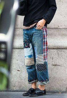 tissu en patchwork et jean pour homme - hippie chic et hipster
