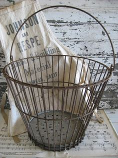 Rustic Farmhouse Egg Basket by SweetMagnoliasFarm on Etsy  (I have several from my grandfather's farm)
