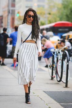 crop top and striped palazzo pants