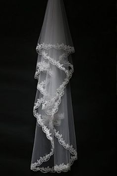 Wedtrend Women's Long Tulle Bridal Veil with Appliqued Rhinestone Hem