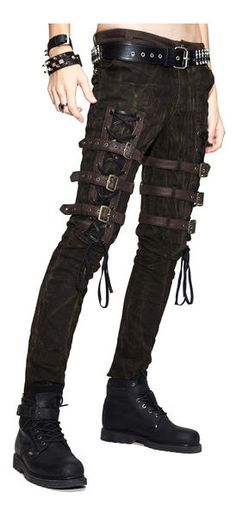 Men's Gothic Punk Asylum Pants - - The Asylum pants are a men's gothic Steampunk dark brown pants that have lacing and buckle straps on the thighs, Front pockets and back zipper pockets. Gothic Fashion Men, Gothic Men, Gothic Tops, Punk Fashion, Fashion Outfits, Gothic Steampunk, Steampunk Pants, Fashion Top, Latex Fashion