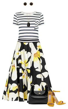 Floral Skirt for Spring by dawn-scott on Polyvore featuring Oasis, Alice + Olivia, Steve Madden, Mulberry, Sam Edelman and Monica Rich Kosann