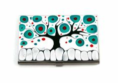 Business Card Case Hand Painted Metal Id Wallet by colorsbyliza, $42.00