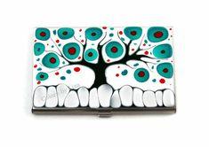 Tarjeta caso mano pintada caja de tarjeta Metal por colorsbyliza, $45.00