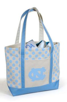 University of North Carolina (UNC) Tar Heels Polka Dot tote- cute!!