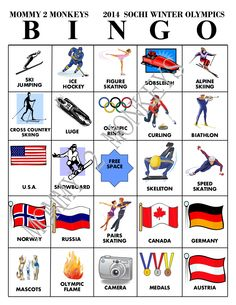 Summer Olympics Coloring Page Awesome Mommy 2 Monkeys Winter Olympics Bingo Kids Olympics, 2018 Winter Olympics, Winter Olympic Games, Winter Games, Olympic Mascots, Skate Canada, Olympics Opening Ceremony, Olympic Champion, Family Game Night