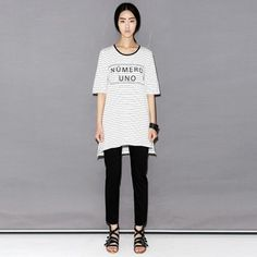 Today's Hot Pick :UNO Text Print Stripes Shirt http://fashionstylep.com/P0000WEB/ju021026/out Be number one on the best dressed list in this casual t-shirt. It offers a stripes pattern, short-sleeves, uneven hem, relaxed fit, and a bold front print making for a chic but laid-back piece. Wear this with a pair of wide-legged trousers and peep-toe platform heels for a polished casual ensemble.