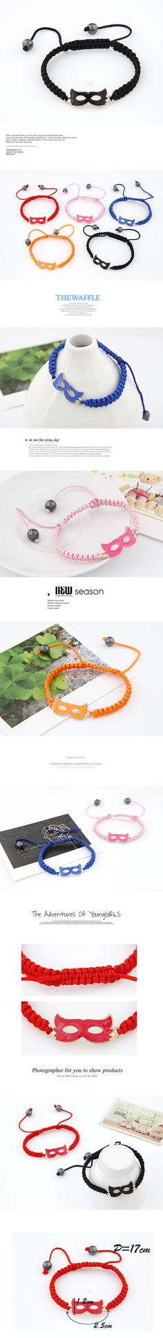 3719389d1e53c Choker Orange Mask Shape Braided Rope Korean Fashion Bracelet