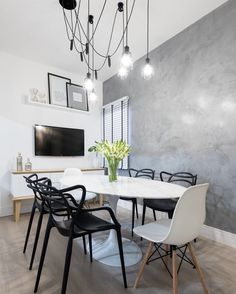 Gray Marmorato in Black and White Dining Room - Interior - Black And White Dining Room, Pastel Interior, Gray Interior, Dinner Room, Small Rooms, Room Interior, Decorating Your Home, Living Room Decor, Sweet Home
