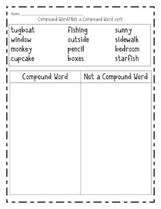 This is a word sort for students to distinguish between 'compound words' and 'not compound words.'...