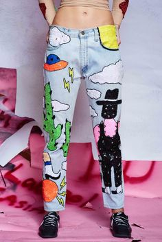 Image of COFFINWASHER x DU 'CACTUS HEART' Jeans