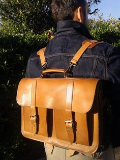 Handmade Leather School  Backpack Briefcase by MagusLeather, €175.00