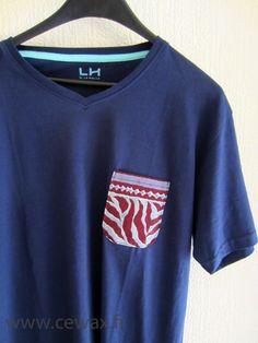 Tee shirt customisé wax motif africain bleu et prune (envoi 0€) : Tshirts, polos par cewax