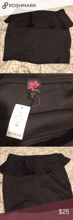 2b Bebe peplum black skirt Stretchy Material brand new never worn. Size xl 2B Bebe Skirts Midi